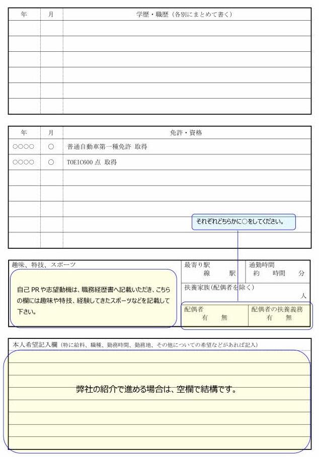 技術者の履歴書の書き方見本(2ページ目)