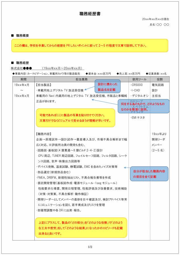 電気電子回路設計技術者の職務経歴書の書き方見本_1ページ目