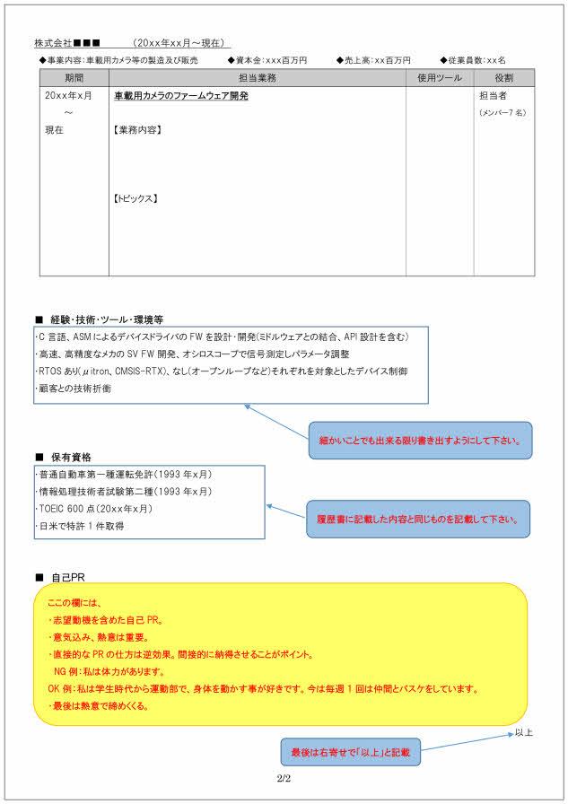 組み込みソフト開発技術者の職務経歴書の書き方見本_2ページ目