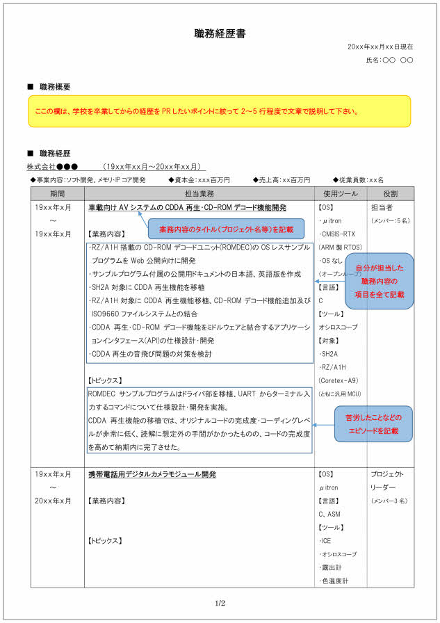 組み込みソフト開発技術者の職務経歴書の書き方見本_1ページ目