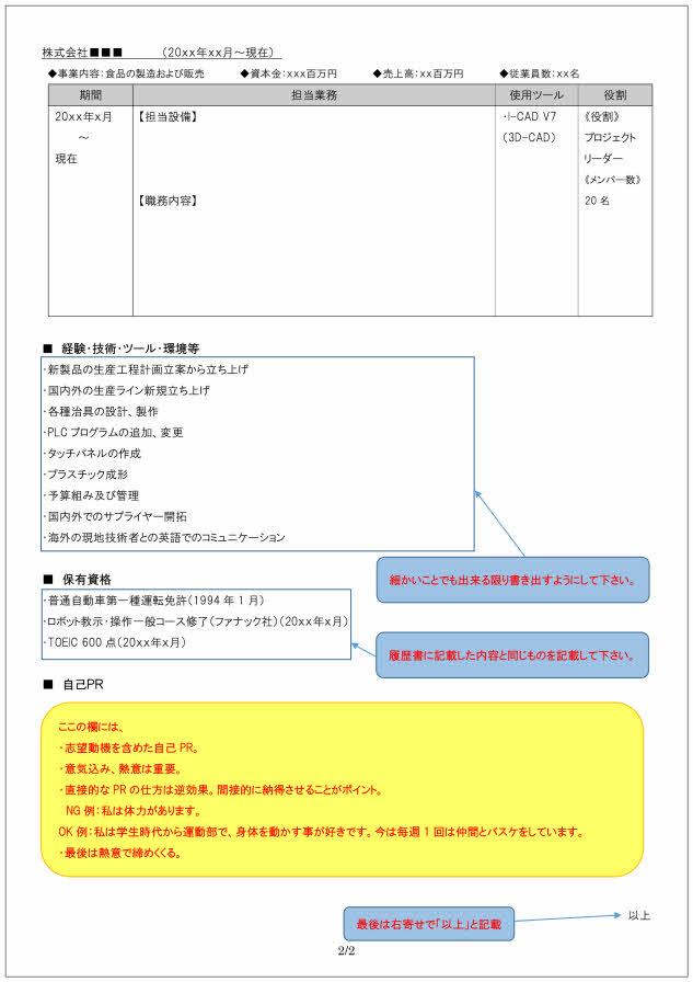 生産技術者の職務経歴書の書き方見本_2ページ目