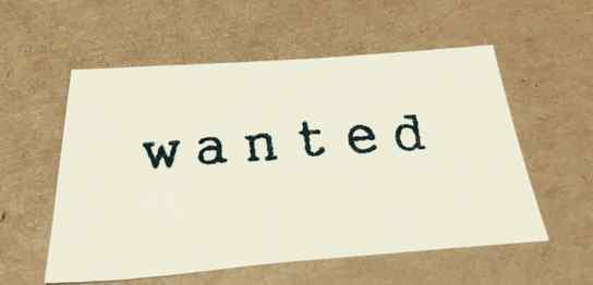 白い紙に「wanted」という文字