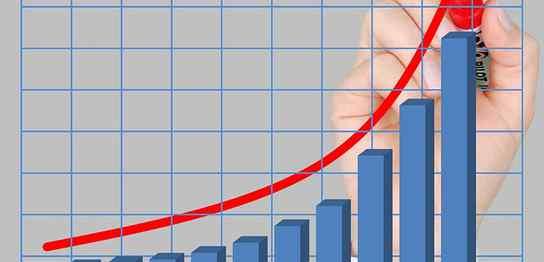右肩上がりの棒グラフ