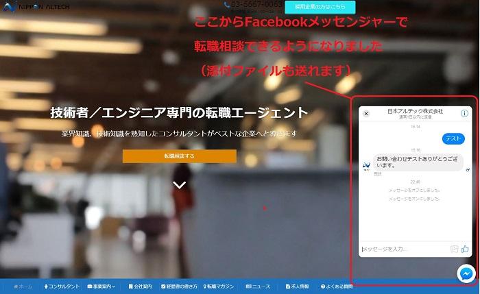 Facebookメッセンジャー機能の説明