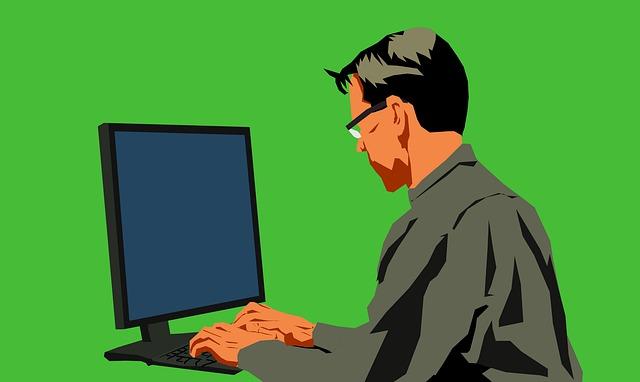 PC作業の男性